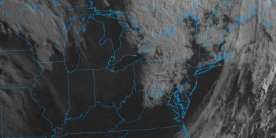 The visible imagery on the GOES-16 satellite. A cold front has swept through the mid-Atlantic overnight and is in pulling through the Atlantic Ocean. 6/14/19