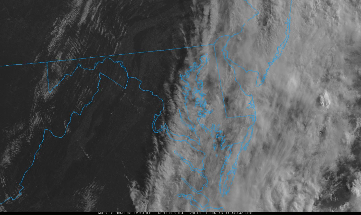 A cold front coming through the mid-Atlantic and Delmarva on June 12, 2019. This is in the visible wavelength from GOES-16.