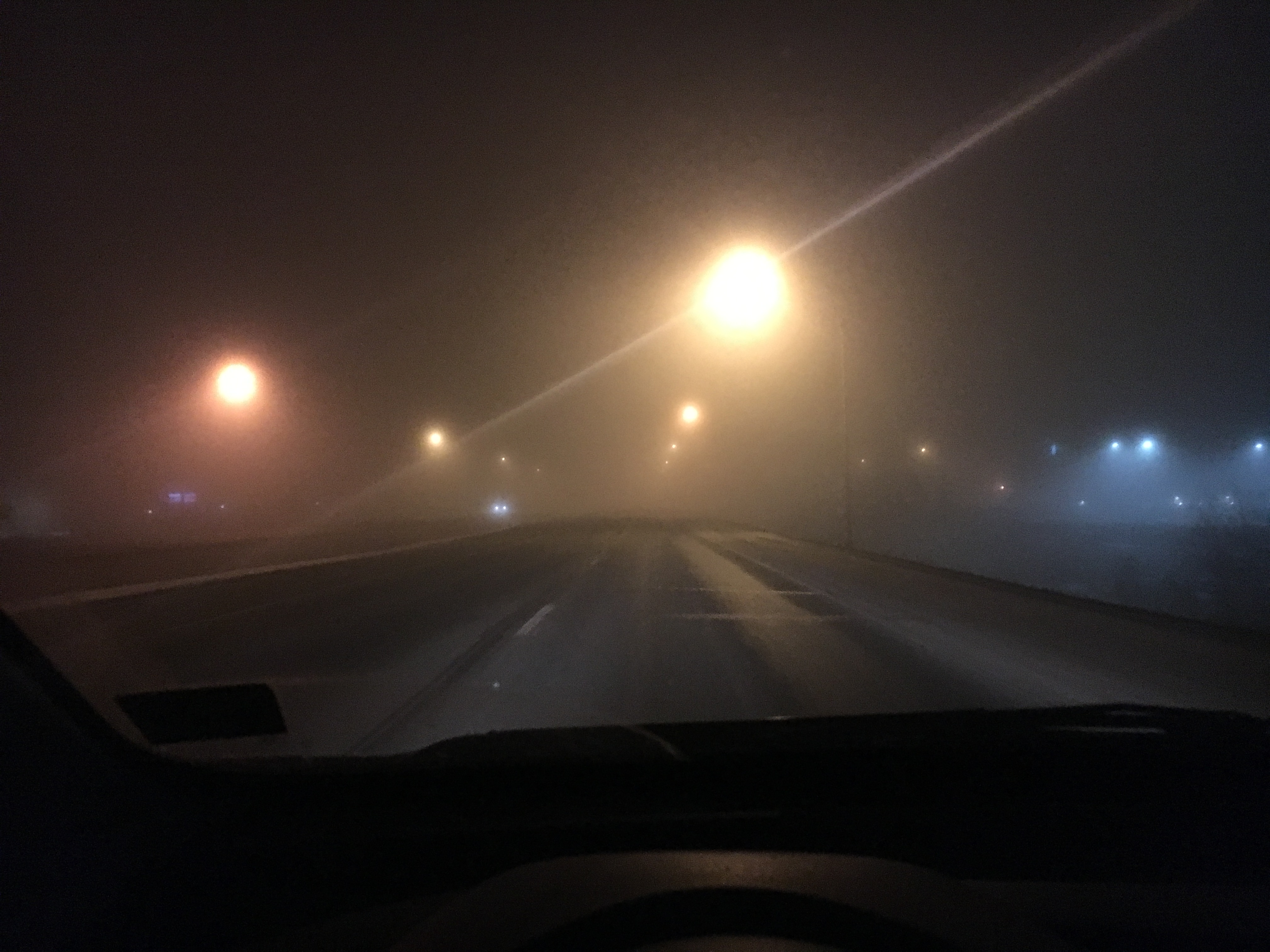 A foggy night in Bismarck, North Dakota. This is reducing visibility.