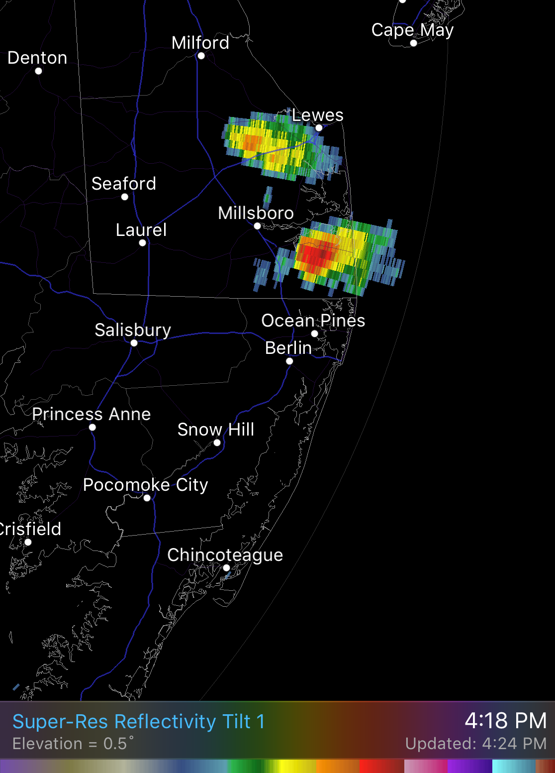 A single-cell thunderstorm is developing over Ocean View, Delaware. This is based on the radar.