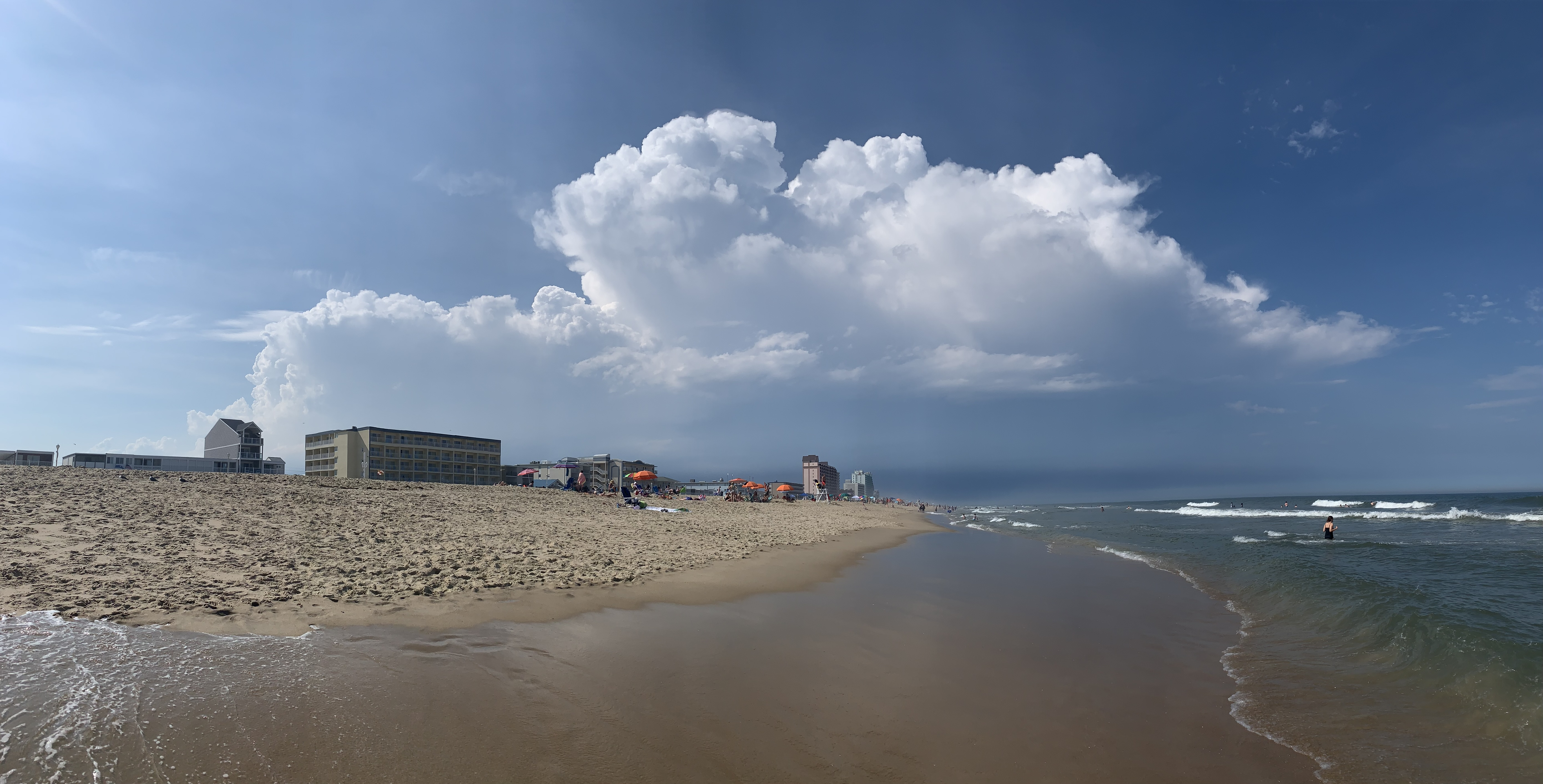 Cumulonimbus cloud from Ocean City, Maryland, but looking over into Delaware. There's lightning and thunder in the distance.
