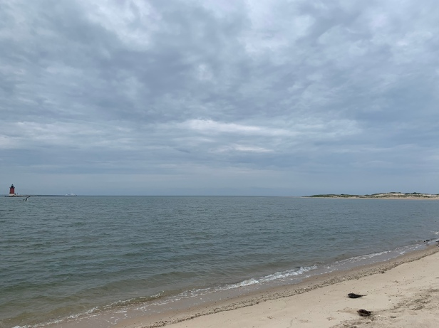 Hot and muggy days at Cape Henlopen State Park in Delaware. This is an overlook of the Delaware Bay.