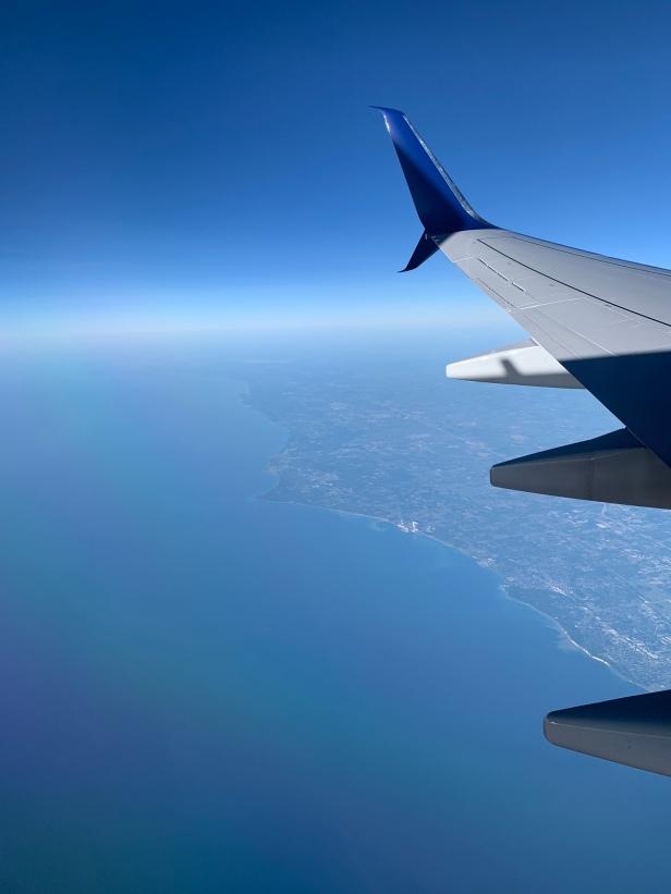 Flying over Lake Michigan.