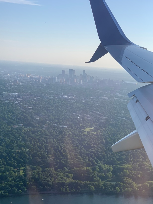 About to land in Minneapolis, Minnesota.