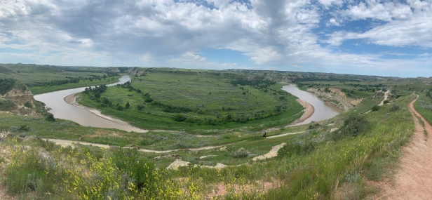 Hiking in Theodore Roosevelt National Park and getting a view of the Little Missouri River.